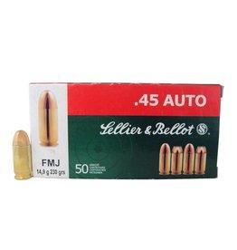 Sellier & Bellot Pistol Ammuntion SB45A, .45ACP, Full Metal Jacket, 230 GR, 830 fps, 50 Rd