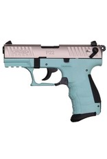 """Walther P22 Semi Auto Pistol Angel Blue WA5120362, 22 LR, 3.4"""", Angel Blue Polymer Grip, Stainless Finish, 10 Rd"""