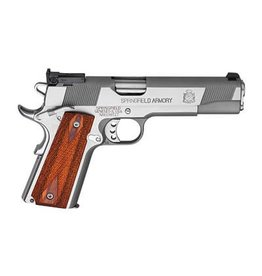 "Springfield Springfield 1911 Loaded Full Size Stainless Steel Target Pistol PI9134LP, 9 MM, 5"", Cocobolo Wood Grips, Stainless Finish, Low Profile Adjustable Rear Dovetail Front Target Sights, 9 Rd"