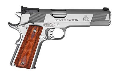 """Springfield Springfield Loaded Full Size Stainless Steel Target Pistol PI9134LP, 9 MM, 5"""", Cocobolo Wood Grips, Stainless Finish, Low Profile Adjustable Rear Dovetail Front Target Sights, 9 Rd"""