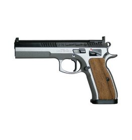 "CZ, 75 Tactical Sport, Semi-Automatic, SAO, Full Size, 9MM, 5.23"" Cold Hammer Forged Barrel, Steel Frame, Grey/Black Duo Tone Finish, Wood Grips, Ambi Safety, Fixed Sights, 2 Magazines, 10 Rounds"