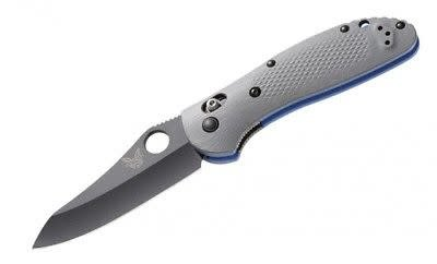 "Benchmade, 550BK-1, Griptilian, Plain Edge, Hollowground Modified Sheepsfoot, BK1 Coated Blade, , 3.45"", CPM-20CV, Grey G10"