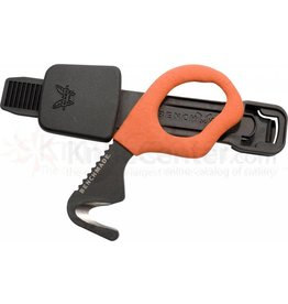 """Benchmade, 7 H2OW, Safety Cutter, Rescue Hook, Strap Cutter, Black Oxide Coated X-15TN, 440C, .5"""", Orange Vinyl Coated Handle"""