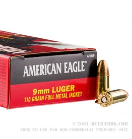 Federal American Eagle Ammunition AE9DP, 9 mm, Full Metal Jacket, 115 GR, 1160 fps, 50 Rd/bx