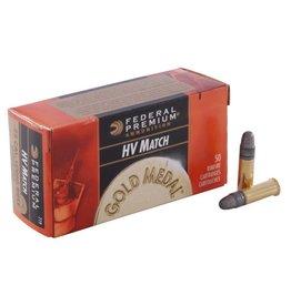 Federal Premium HV Match .22 Long Rifle 40 Grain Lead Round Nose Box of 50