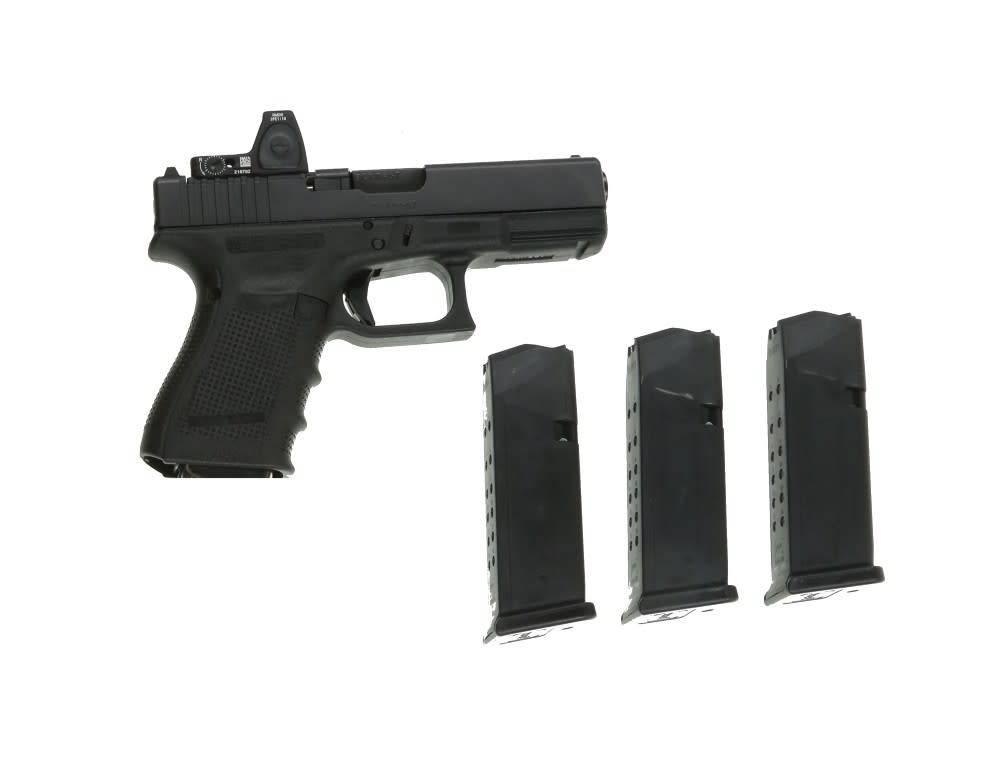 Glock Glock 19 Gen4 MOS Pistol, 9mm, 4.02 in, Fixed Sights, 15 Rd w/ Trijicon RMR01