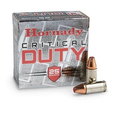 Hornady Critical Duty Ammunition 90226, 9 mm+P, Flex Tip Expanding, 135 GR, 25Rd/Bx