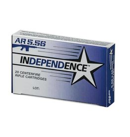 Independence Centerfire Rifle Ammunition XM193I, 5.56mm NATO, Full Metal Jacket Boat-Tail, 55 GR, 3165 fps, 20 Rd/bx