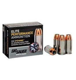 Sig Sauer Sig Sauer Elite Performance Pistol Ammunition E9MMA2, 9mm, JHP V-Crown, 124 GR, 1189 fps, 20 Rd/bx