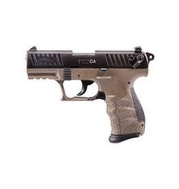 "Walther, P22-CA, Semi-automatic, Double Action/Single Action, Compact, 22LR, 3.4"", Polymer, Flat Dark Earth Frame with Black Slide, 10Rd, 1 Mag, Fixed Barrel, Adjustable Sights"