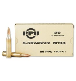 Prvi Partizan Ammunition PPU PP5.2, 5.56 NATO, 55 GR, M193, Full Metal Jacket Boat Tail, 20 Rd/Box