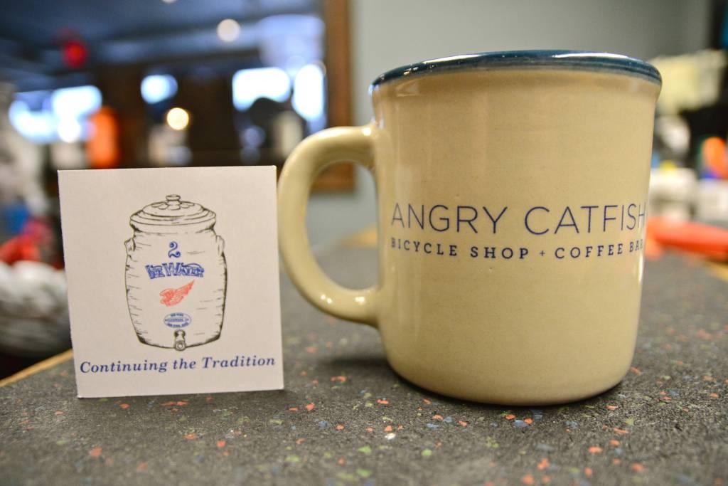 Angry Catfish Red Wing Stoneware Mug