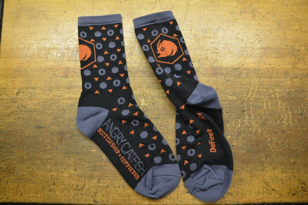 DeFeet Angry Catfish Sock: Black/Orange/Gray