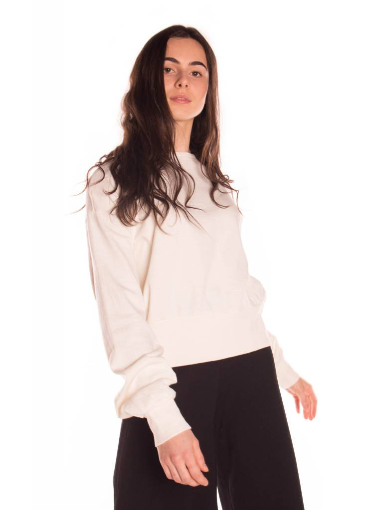 YAYA JERSEY TOP WITH ROUND NECK AND DRAPE DETAIL