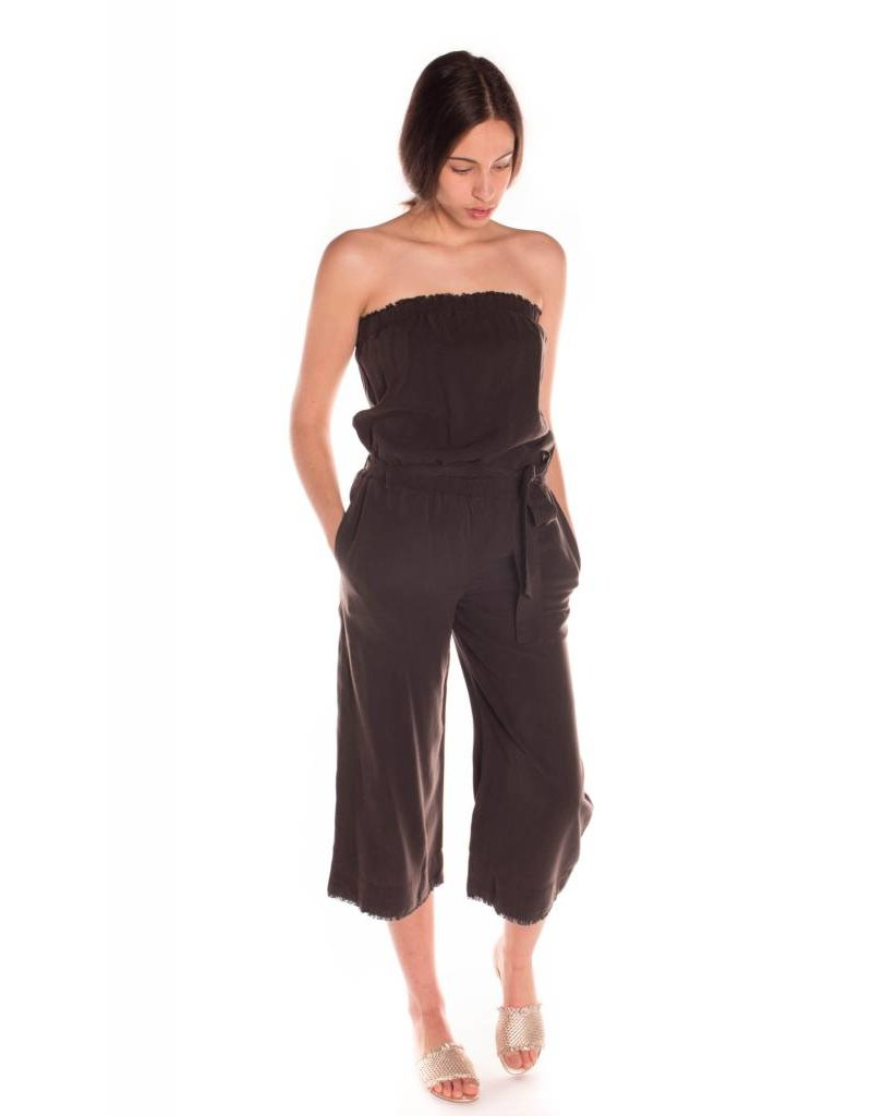 STRAPLESS FRAYED JUMPER NIGHT SHADE