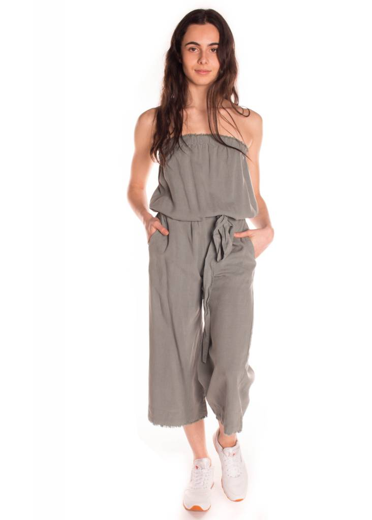 STRAPLESS FRAYED JUMPER FADED EVERGLADE