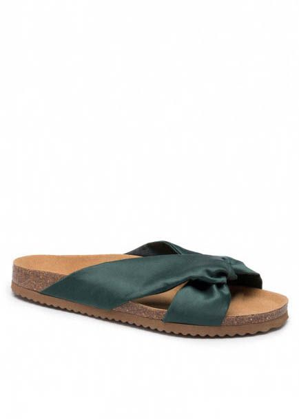 SATIN BIO SANDALS DARK GREEN