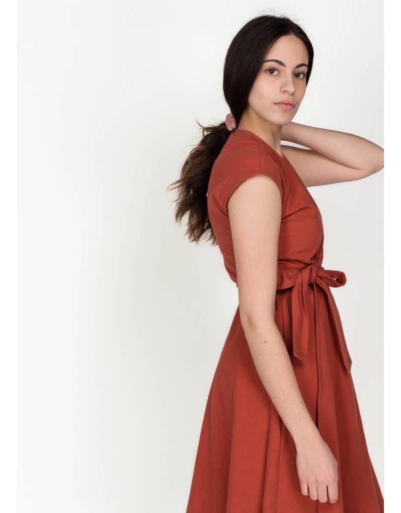 AMANDA MOSS STELLA WRAP DRESS CAYENNE