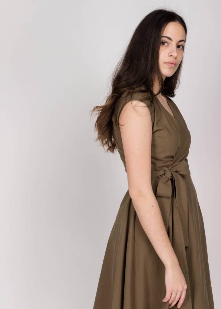 AMANDA MOSS STELLA WRAP DRESS KHAKI
