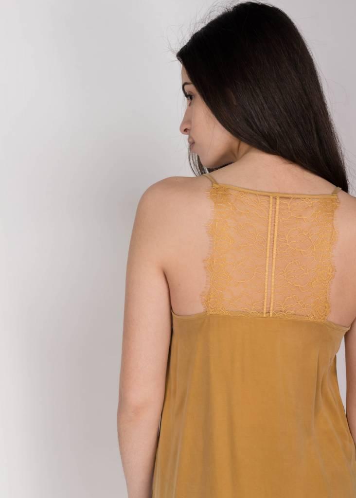 YAYA STRAPPY DRESS LACE INSERT GOLDEN BRONZE