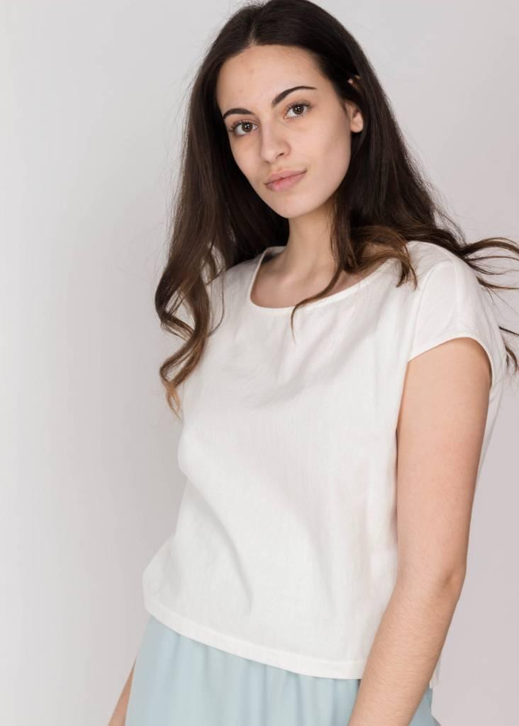 AMANDA MOSS BOX CREW WHITE