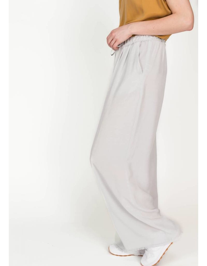 FRAYED HEM WIDE LEG PANT MARBLE GREY