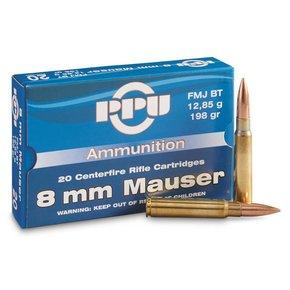 PPU 8mm Mauser 196 Grain FMJ-BT Box of 20