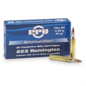 PPU 223 Rem 55 gr FMJ BT Box of 20