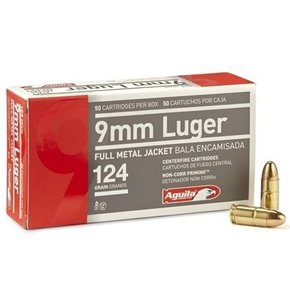 Aguila 9mm Luger Ammo 124 Grain Full Metal Jacket Box of 50