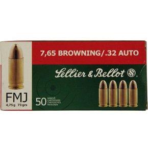 Sellier & Bellot 32 ACP 73 Grain Full Metal Jacket Box of 50