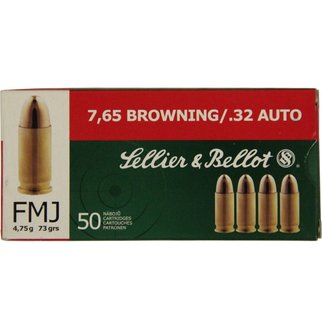 Sellier & Bellot Sellier & Bellot 32 ACP 73 Grain Full Metal Jacket Box of 50
