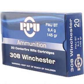 PPU 308 Winchester FMJ BT 145 Grain Box of 20