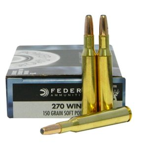 Federal Ammunition Federal Power-Shok 270 Winchester 150 Grain Round Nose Soft Point Box of 20