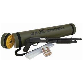 "Mossberg 500 J.I.C. Cruiser Pump Shotgun 12 Gauge 18.5"" Barrel 6 Rounds 3"" Chamber Synthetic Pistol Grip Blued Finish with Green Storage Tube"