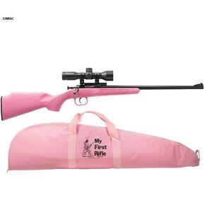 """Crickett 220BS Single Shot 22LR w/Scope Bolt 16.1"""" 1 Synthetic Pink Stk Blued"""