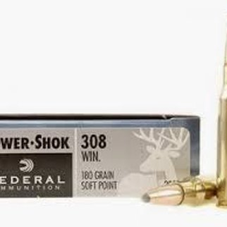 Federal Ammunition FEDERAL POWER-SHOK 308 WINCHESTER 180 GRAIN SOFT POINT BOX OF 20