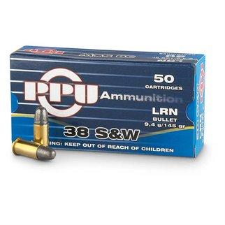 PPU PPU 38 S&W 145 Grain Lead Round Nose Box Of 50