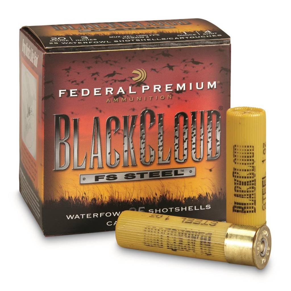 """Federal Ammunition Federal Blackcloud FS Steel 20 gauge 3"""" 4 shot"""