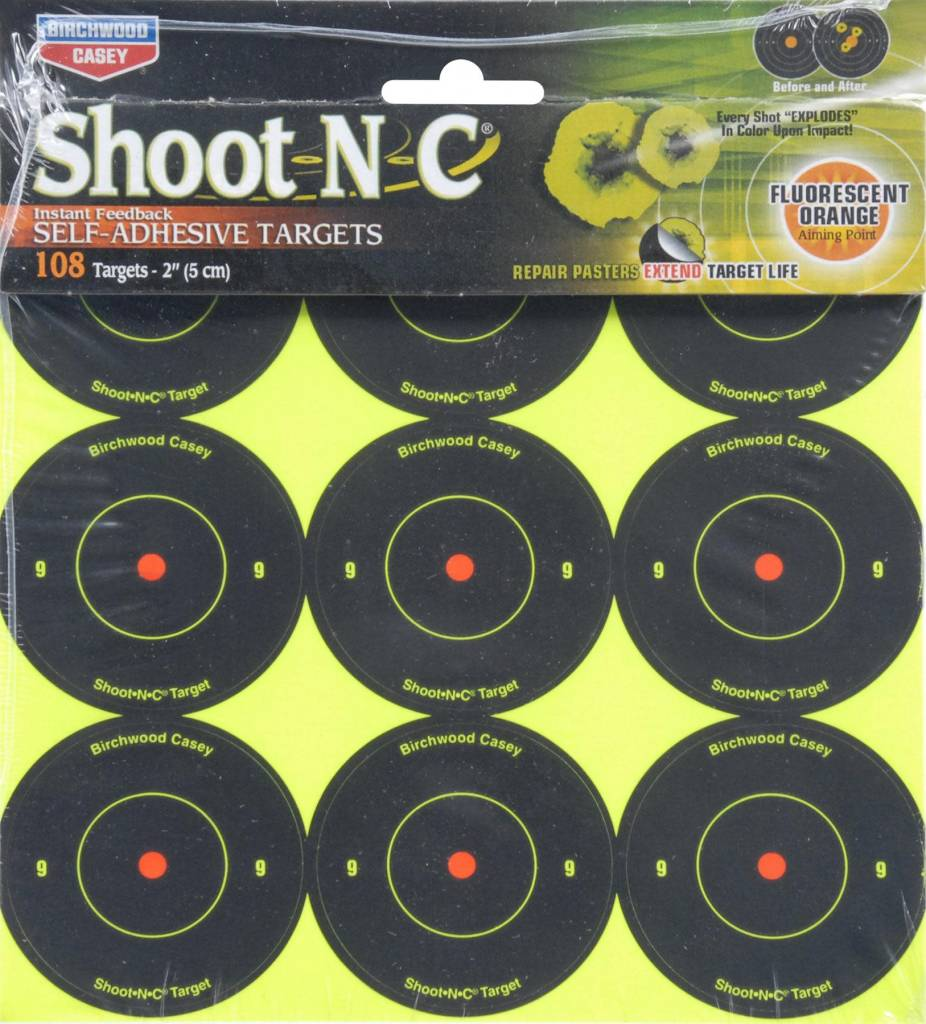 "Birchwood Casey Shoot N C Birchwood Casey 2"" 108 Reactive Self Adhesive Targets"