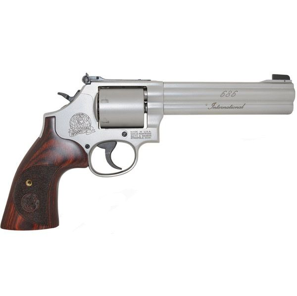 """Smith & Wesson Smith & Wesson 686 International Revolver, .357 MAG, 6"""" Barrel, Stainless, Unfluted Cylinder, 6 Round"""