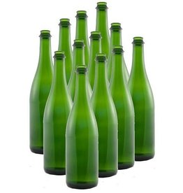 Champagne Green Flat Bottom 750ml Burgundy Bottles 12/Case