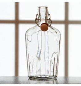 8oz Glass Flask Fliptop Case Single