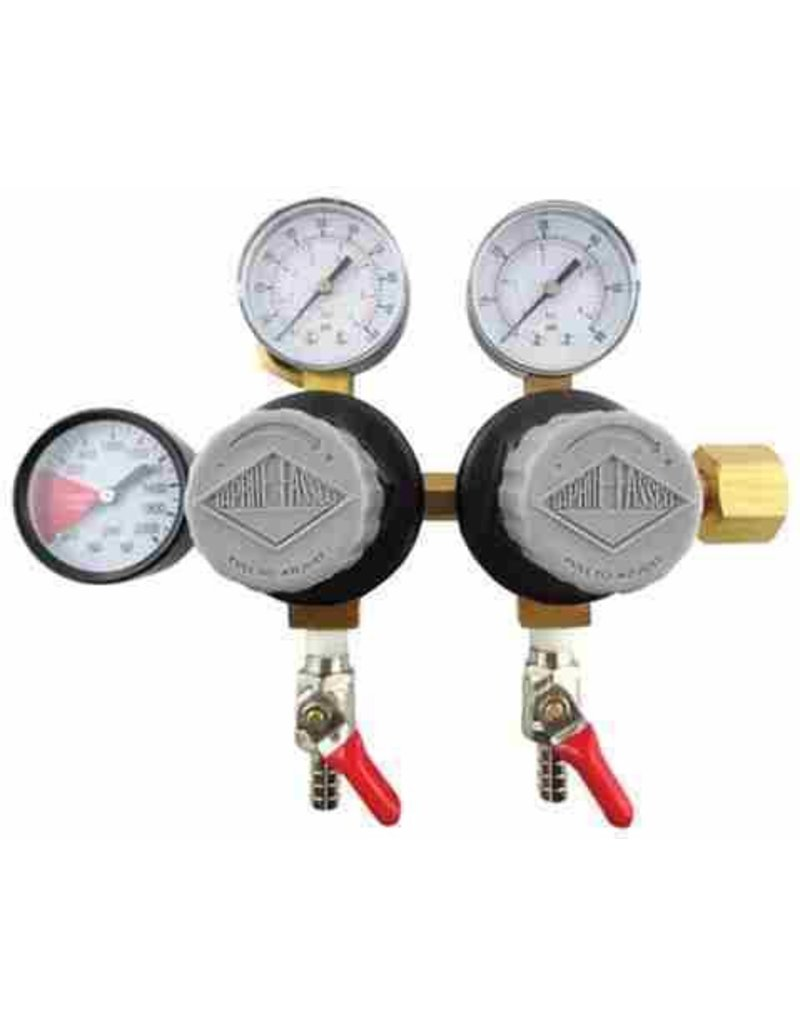 Micromatic Double Taprite Co2 Regulator W/ 5/16b Shutoffs, 60# & 2000# Gauges
