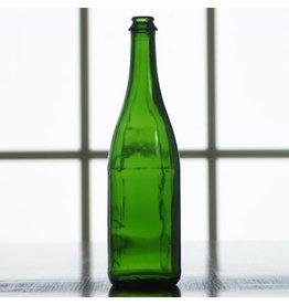750mL CHAMPAGNE GREEN BORDEAUX FLAT BOTTOM WINE BOTTLE 12/CASE