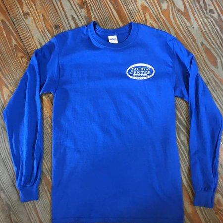 Tackle Center Long Sleeve Cotton T-Shirt Blue