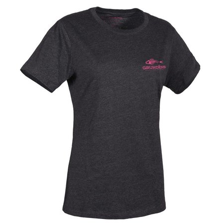 Grundens Women's T-Shirt Charcoal with Pink