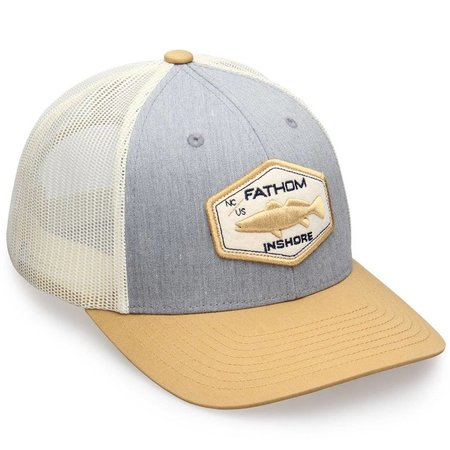 Fathom Offshore Blackwater Trucker Hat Grey Birch/Gold