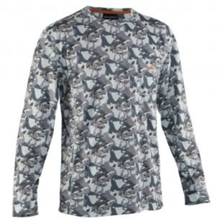 Grundens Fish Head Long Sleeve Performance Shirt Grey Camo
