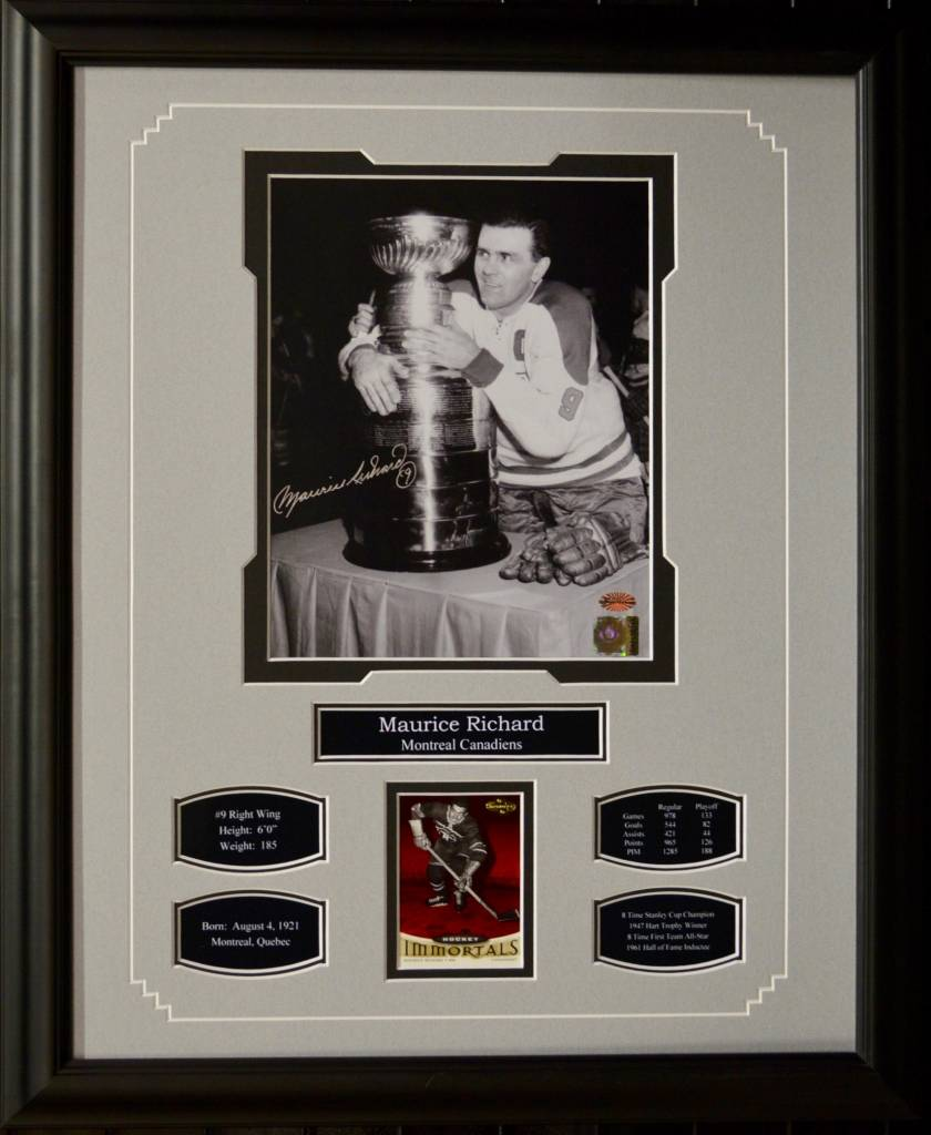 maurice richard autograph 16x20 frame montreal canadiens ajw sportscards
