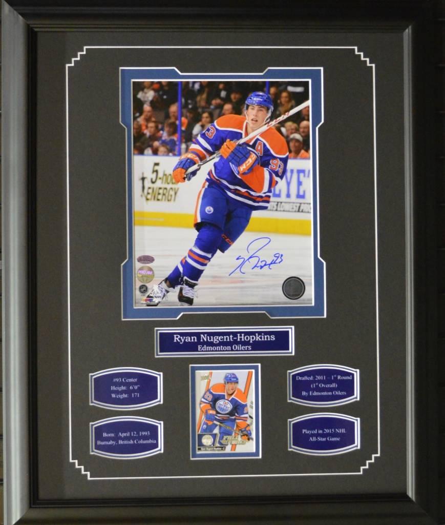 ryan nugent hopkins autograph 16x20 frame edmonton oilers ajw sportscards